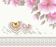 Wedding invitation with flowers and hearts. With ornament Stock Images