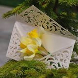 Wedding invitation with flowers. Macro detail of wedding invitation with daffodils flower Stock Image