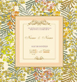 Wedding invitation with flowers. Spring Mimosa Royalty Free Stock Photography