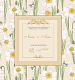 Wedding invitation with flowers. Spring narcissus. Stock Photos