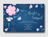 Wedding invitation flowers template Stock Images