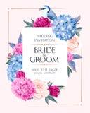 Wedding invitation with flowers. Vector wedding invitation with high detailed flowers and bird Royalty Free Stock Photos