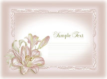 Wedding invitation, frame, lily Stock Image