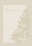 Wedding invitation, frame, orchids and lilies. Cute wedding invitation card with orchids and lilies Stock Image
