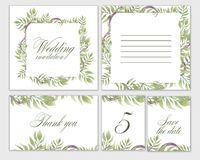 Wedding invitation frame set flowers, leaves, watercolor, isolated on white. royalty free illustration