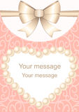 Wedding invitation. Wedding invitation with frame for text and bow. Pearl heart. Postcard  for wedding, marriage, bridal, birthday, Valentine`s day. On a gentle Stock Image