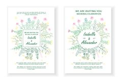 Wedding invitation frames with herbs and wild flowers. Hand drawn vintage vector illustration. Line art style. Rustic template, greenery color Stock Illustration