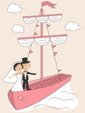Wedding invitation with funny bride and groom Royalty Free Stock Photos