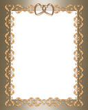 Wedding invitation gold  border hearts. 3D scroll accents Illustration for elegant formal Wedding invitation, Frame, Valentine or Background with gold hearts Royalty Free Stock Photo