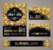 Wedding invitation Gold confetti and black background. Set of wedding invitation cards design. Gold confetti and black background. Vector illustration. Save the Royalty Free Stock Photos
