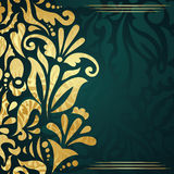 Wedding invitation with gold floral decoration Royalty Free Stock Photos