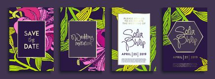 Wedding invitation with gold flowers and leaves on dark texture. luxury gold backgrounds, artistic covers design, colorful texture. Luxury Vector illustration royalty free illustration