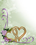 Wedding invitation gold hearts stock illustration