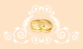 Wedding invitation with gold rings and floral deco stock illustration