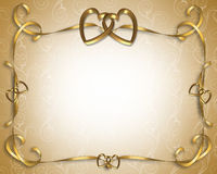 Wedding Invitation golden hearts Stock Image