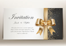 Wedding invitation with golden ribbon and bow. Royalty Free Stock Photos
