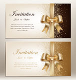 wedding invitation with golden ribbon and bow. Royalty Free Stock Photography