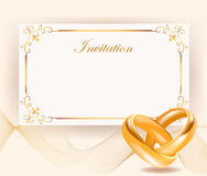 Wedding invitation with golden rings in retro style. Wedding invitation width golden rings in retro style Perfect for invitations or announcements.Wedding Stock Photography