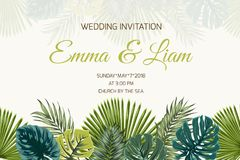 Wedding invitation green turquoise tropical leaves Stock Photography