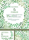 Wedding invitation with green watercolor brunches Stock Photography