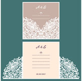 Wedding invitation or greeting card with abstract ornament.  Stock Images