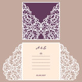 Wedding invitation or greeting card with abstract ornament. Vector envelope template for laser cutting. Paper cut card. With silhouette. Cutout silhouette panel vector illustration