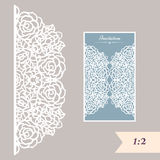 Wedding invitation or greeting card with abstract ornament. Vector envelope template for laser cutting. Paper cut card Stock Photo
