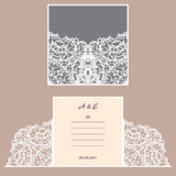 Wedding invitation or greeting card with abstract ornament. Vector envelope template for laser cutting. Paper cut card. With silhouette. Cutout silhouette panel Royalty Free Stock Images