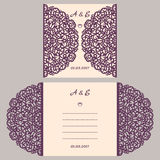 Wedding invitation or greeting card with abstract ornament. Vector envelope template for laser cutting. Paper cut card. With silhouette. Cutout silhouette panel Royalty Free Stock Image