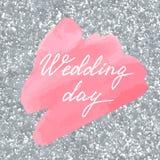 Wedding invitation or greeting card. Wedding invitation or greeting card on aquarelle background Stock Photo