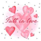 Wedding invitation or greeting card. Wedding invitation or greeting card on aquarelle hearts Royalty Free Stock Photos