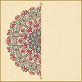 Wedding invitation or greeting card with colorful floral mandala Place for your text. Royalty Free Stock Photography