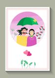 Wedding invitation or greeting card with cute loving couple under and umbrella. Royalty Free Stock Photography