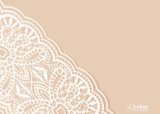 Wedding invitation or greeting card design with. Lace pattern, ornamental vector illustration Stock Image