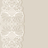 Wedding invitation or greeting card design with. Lace pattern, ornamental vector illustration Stock Photos
