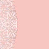 Wedding invitation or greeting card design with. Lace pattern, ornamental vector illustration Stock Photography