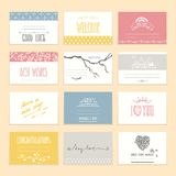 Wedding Invitation, Greeting Card Design Templates. Romantic invitation and greeting cards with cute hand drawn elements and handwritten lettering. Valentine`s Royalty Free Stock Photography