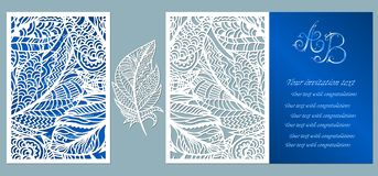 Wedding invitation. Greeting card with feathers. Envelope mock up for laser cutting. Template for laser, plotter cutting. blue.  vector illustration