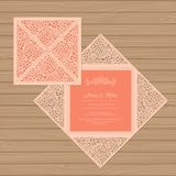 Wedding invitation or greeting card with flower ornament. stock illustration