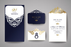 Wedding invitation or greeting card with gold floral ornament. Wedding invitation envelope for laser cutting. Stock Photo