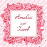Wedding invitation or greeting card. Wedding invitation or greeting card with pink roses Royalty Free Stock Photography