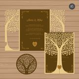 Wedding invitation or greeting card with tree. Paper lace   Royalty Free Stock Photography