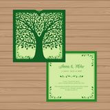 Wedding invitation or greeting card with tree. Paper lace   Stock Image
