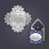 Wedding invitation or greeting card with vintage floral ornament. Paper lace envelope template, mock-up for laser cutting. Royalty Free Stock Photography