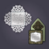 Wedding invitation or greeting card with vintage floral ornament. Paper lace envelope template, mock-up for laser cutting. Royalty Free Stock Photo