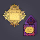 Wedding invitation or greeting card with vintage floral ornament. Paper lace envelope template, mock-up for laser cutting. Stock Image