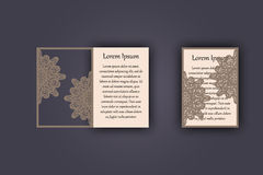 Wedding invitation or greeting card with vintage lace ornament. Mock-up for laser cutting. Vector illustration. Wedding invitation or greeting card with vintage Stock Images