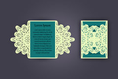 Wedding invitation or greeting card with vintage lace ornament. Mock-up for laser cutting. Vector illustration. Wedding invitation or greeting card with vintage Stock Photography