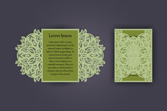 Wedding invitation or greeting card with vintage lace ornament. Mock-up for laser cutting. Vector illustration. Stock Photos