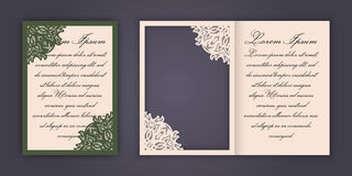 Wedding invitation or greeting card with vintage lace ornament. Mock-up for laser cutting. Vector illustration. Wedding invitation or greeting card with vintage Royalty Free Stock Photos